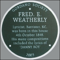 Fred Weatherly plaque